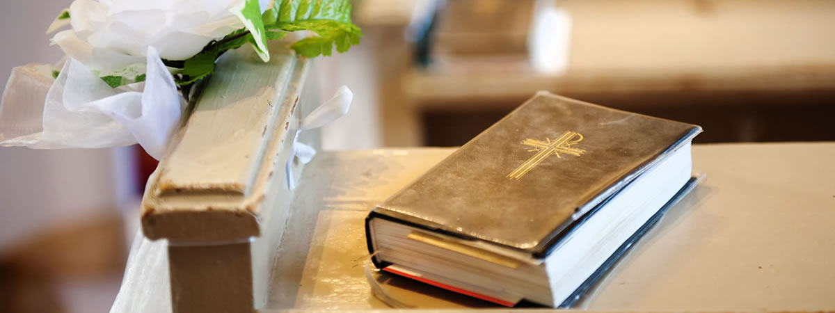 Bible on a church altar